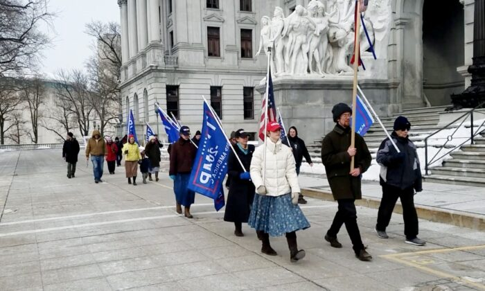A picture of Trump supporters participating a Stop the steal rally in Harrisburg Pennsylvania on the weekend, Dec. 20, 2020. (NTD Television)