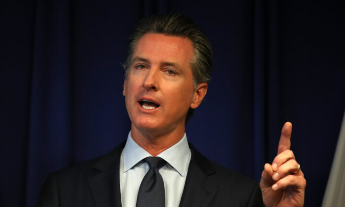 California Gov. Gavin Newsom speaks during a news conference at the California justice department in Sacramento, Calif. on Sept. 18, 2019. (Justin Sullivan/Getty Images)