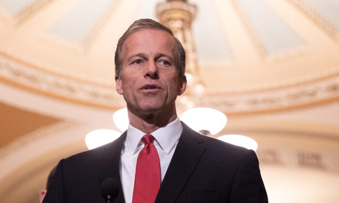 Sen. John Thune (R-S.D.) speaks to press after a Senate Republican policy lunch at the U.S. Capitol in Washington on May 15, 2018. (Samira Bouaou/The Epoch Times)