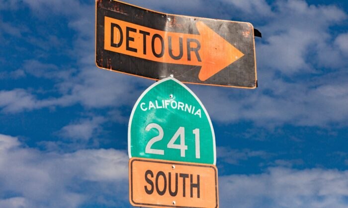 A road sign along the State Route 241 toll road in Orange County, Calif., on Nov. 12, 2020. (John Fredricks/The Epoch Times)