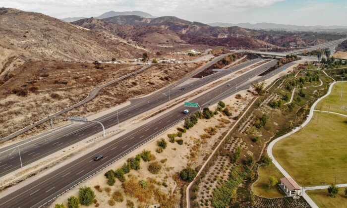 An aerial view of the State Route 241 toll road in Orange County, Calif., on Nov. 12, 2020. (John Fredricks/The Epoch Times)