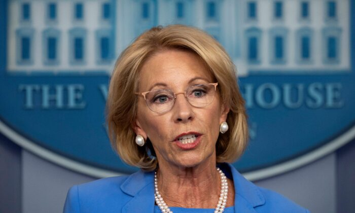 U.S. Secretary of Education Betsy Devos speaks during a daily briefing on COVID-19, in the Brady Briefing Room at the White House on March 27, 2020. (Jim Watson/AFP via Getty Images)