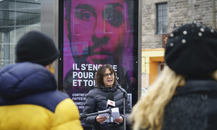 Quebec Minister Responsible for the Status of Women Isabelle Charest launches an add campaign aiming to curb violence against women in Montreal on Nov. 23, 2020. (Paul Chiasson/The Canadian Press)