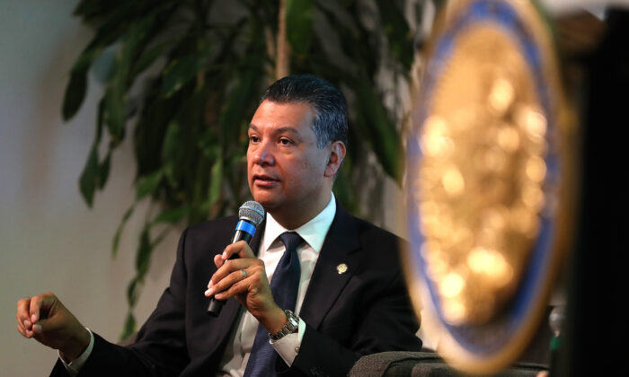 California Secretary of State Alex Padilla speaks during a news conference at Uber headquarters in San Francisco, Calif. on May 24, 2018. (Justin Sullivan/Getty Images)