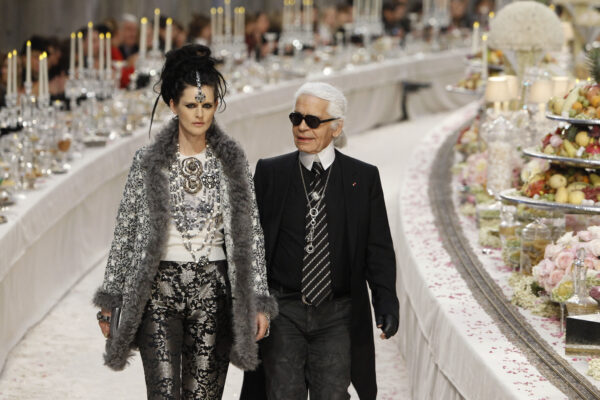 German fashion designer Karl Lagerfeld with British model Stella Tennant