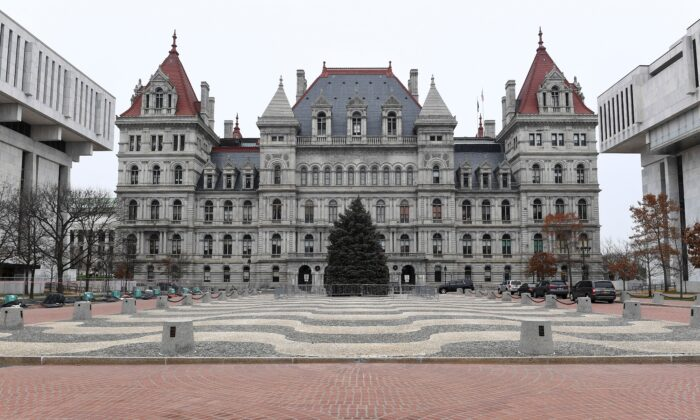 Exterior view of the New York state Capitol in Albany, N.Y., on Dec. 14, 2020.  (HANS PENNINK/POOL/AFP via Getty Images)