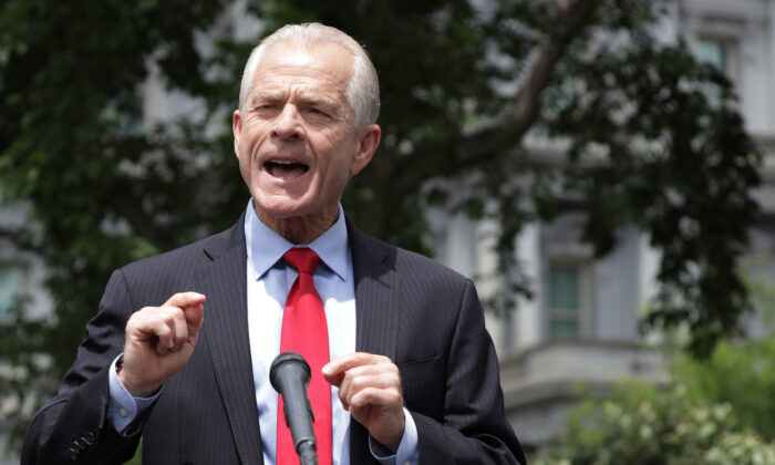 Peter Navarro speaks to members of the press outside the White House in Washington on June 18, 2020. (Alex Wong/Getty Images)
