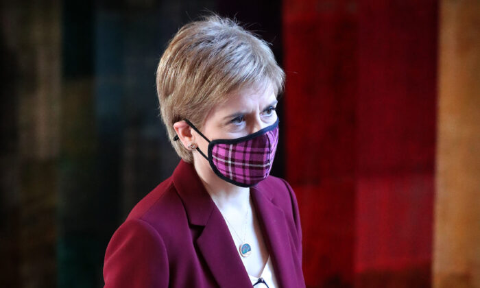 Scottish First Minister, Nicola Sturgeon arrives to update MSPs on any changes to the COVID-19 five-level system in Scotland at the parliament in Holyrood on Dec. 15, 2020 in Ediburgh, Scotland. (Andrew Milligan - Pool/Getty Images)