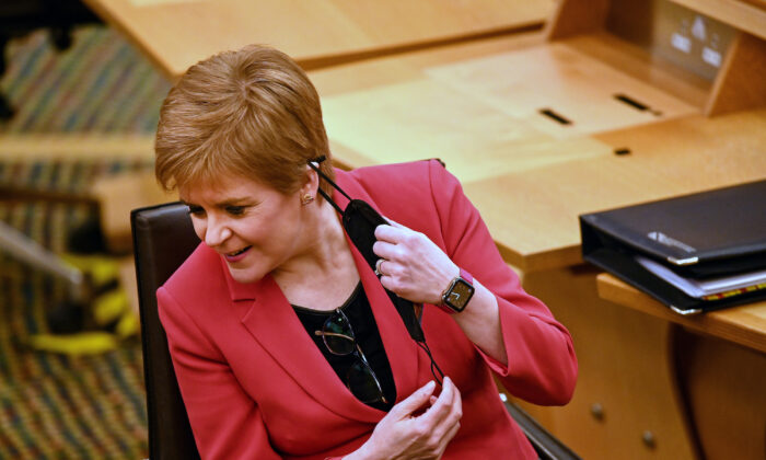 First Minister Nicola Sturgeon attends First Minister's Questions at the Scottish Parliament in Edinburgh on Dec. 3, 2020. (Jeff J Mitchell - Pool/Getty Images)