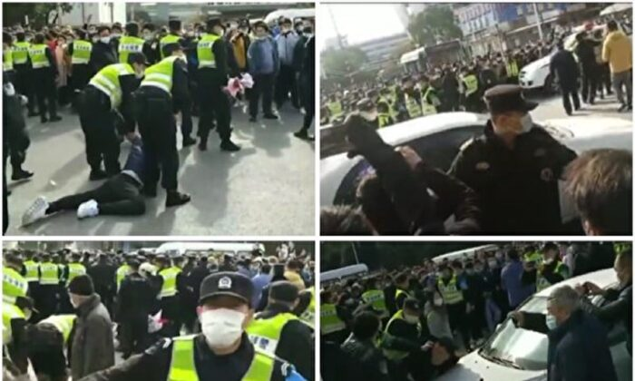 Around 1,000 workers protest at Pegatron's plant in Shanghai, China on Dec. 21, 2020. (The Epoch Times)