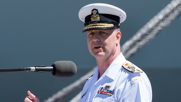 Vice-Admiral Art McDonald addresses the audience at the Royal Canadian Navy Change of Command ceremony in Halifax on June 12, 2019. (The Canadian Press/Andrew Vaughan)