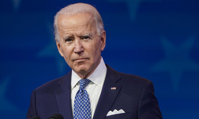 Democratic nominee Joe Biden speaks at the Queen theatre in Wilmington, Del., on Dec. 22, 2020. (Joshua Roberts/Getty Images)
