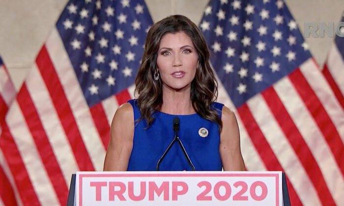 South Dakota Gov. Kristi Noem addresses the Republican National Convention on Aug. 26, 2020.  (Courtesy of the Committee on Arrangements for the 2020 Republican National Committee via Getty Images)