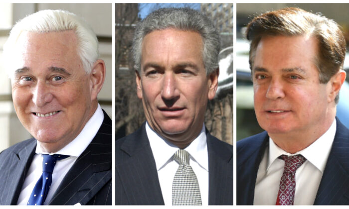 (Left) Roger Stone exits federal court Washington on Nov. 15, 2019. (Center) Charles B. Kushner arrives at the Newark Federal Court on March 4, 2005. (Right) Paul Manafort arrives for a hearing at U.S. District Court in Washington, on June 15, 2018. (Mandel Ngan/AFP via Getty Images and Marko Georgiev, Julio Cortez/AP Photo)