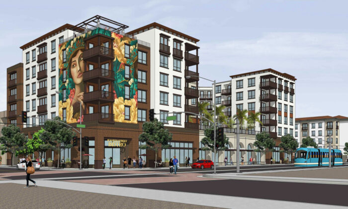 A rendering shows a new apartment complex scheduled for construction in downtown Santa Ana, Calif. (Courtesy of the City of Santa Ana)