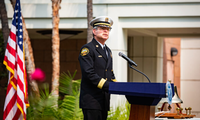 Orange County Fire Authority Chief Brian Fennessy speaks at The Nixon Library's annual commemorations in Southern California to honor the victims of the Sept. 11, 2001, terrorist attacks, on Sept. 11, 2020. (John Fredricks/The Epoch Times)
