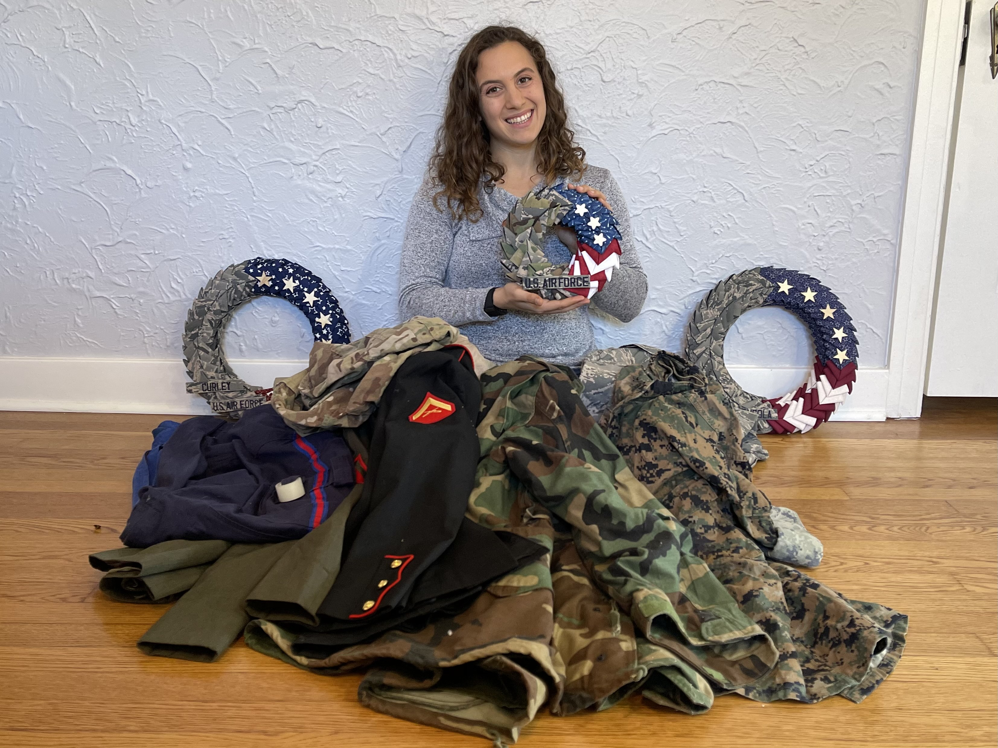 Staff Sergeant Hand-Crafts Patriotic Wreaths From Military Uniforms for Veterans and Families