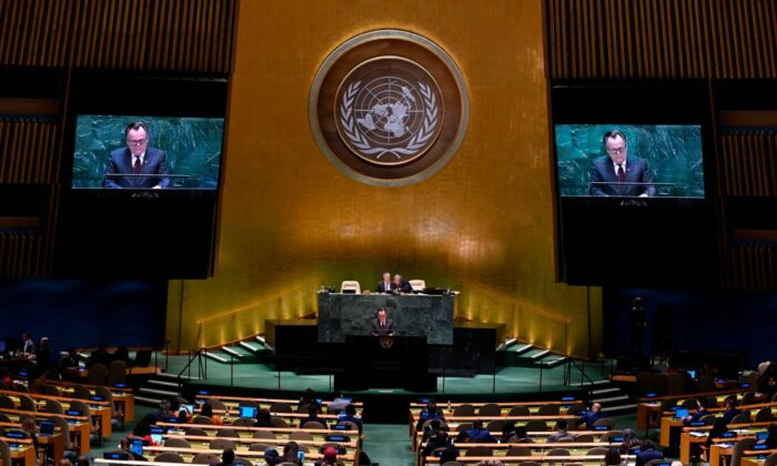 Canada's Ambassador and Permanent Representative to the United Nations Marc-Andre Blanchard speaks during General debate of the 74th session of the United Nations General Assembly at the United Nations Headquarters in New York City on Sept. 30, 2019. (Johannes Eisele/AFP via Getty Images)