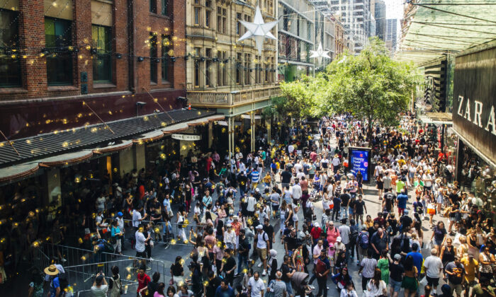 Shoppers are seen in the Pitt Street Mall during the Boxing Day sales in Sydney, Australia on Dec. 26, 2019. (Jenny Evans/Getty Images)
