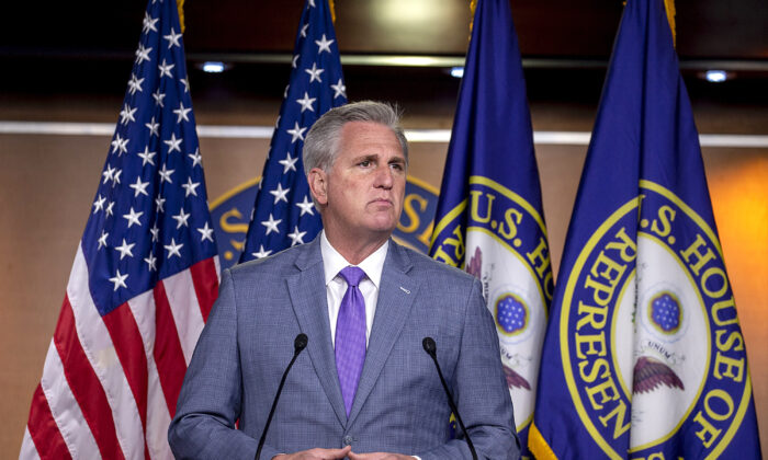 House Minority Leader Kevin McCarthy (R-Calif.) speaks at the weekly news conference on Capitol Hill in Washington, on Dec. 3, 2020. (Tasos Katopodis/Getty Images)