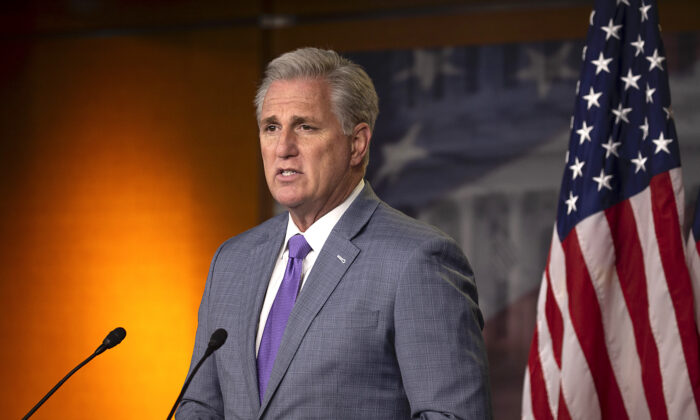 House Minority Leader Kevin McCarthy (R-Calif.) speaks at the weekly news conference on Capitol Hill in Washington on Dec. 3, 2020. (Tasos Katopodis/Getty Images)