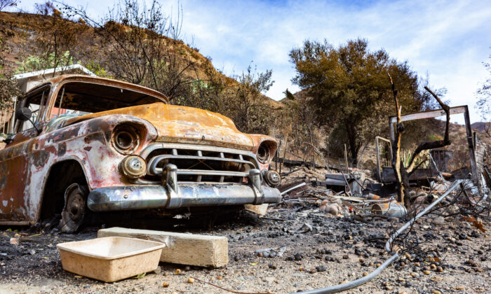 Remnants of Orange County's Bond Fire in Williams Canyon, a part of Trabuco Canyon, Calif., on Dec. 23, 2020. (John Fredricks/The Epoch Times)