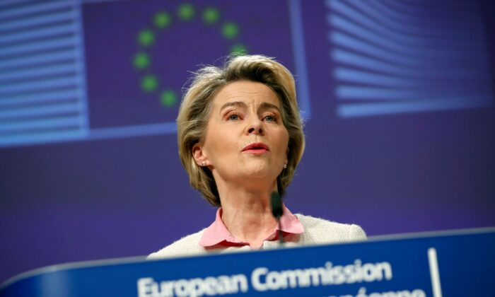 European Commission President Ursula von der Leyen addresses a media conference on Brexit negotiations at the EU headquarters in Brussels, on Dec. 24, 2020. (Francisco Seco/Pool/AFP via Getty Images)