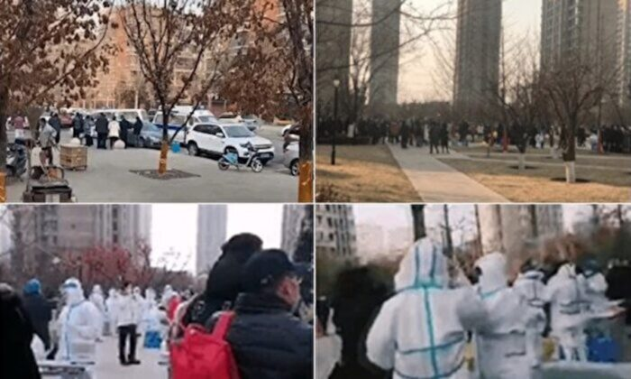 The Huarun Oak Bay housing community in Shenyang city, China, is locked down due to a local surge of COVID-19 cases, on Dec. 23, 2020. (Provided to The Epoch Times by interviewee)