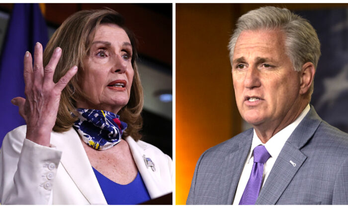 (Left) Speaker of the House Nancy Pelosi (D-Calif.) talks to reporters in Washington, on Oct. 1, 2020. (Chip Somodevilla/Getty Images); (Right) House Minority Leader Kevin McCarthy (R-Calif.) speaks at the weekly news conference on Capitol Hill in Washington, on Dec. 3, 2020. (Tasos Katopodis/Getty Images)