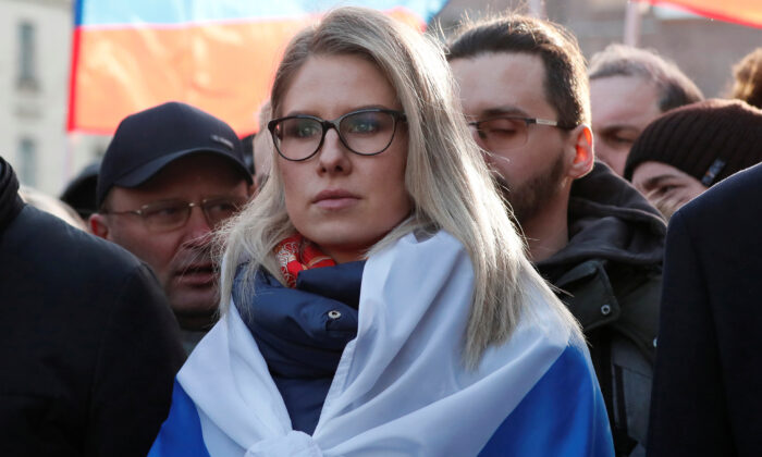 Russian opposition figure Lyubov Sobol takes part in a rally to mark the 5th anniversary of opposition politician Boris Nemtsov's murder and to protest against proposed amendments to the country's constitution, in Moscow on Feb. 29, 2020. (Shamil Zhumatov/Reuters)