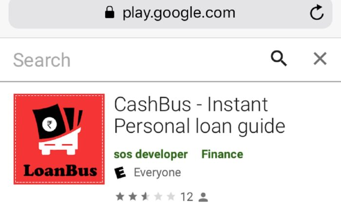 Screenshot of the app, Cash Bus on Google Play that a Chinese national was operating in India for giving small loans. The app was still on Google play on Dec. 27, 2020. (Venus Upadhayaya/Epoch times)