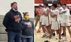 Dad Sings Impromptu National Anthem at Son's Basketball Game After Sound System Fails