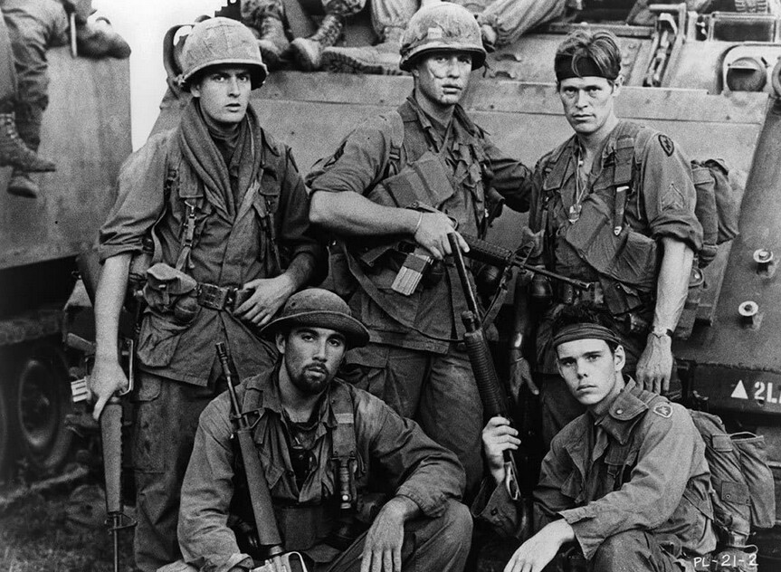"soldiers pose for photo op in ""Platoon"""