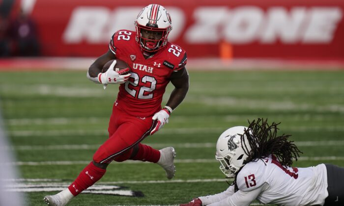 Utah running back Ty Jordan (22), in Salt Lake City, on Dec. 19, 2020. (Rick Bowmer/AP Photo, File)