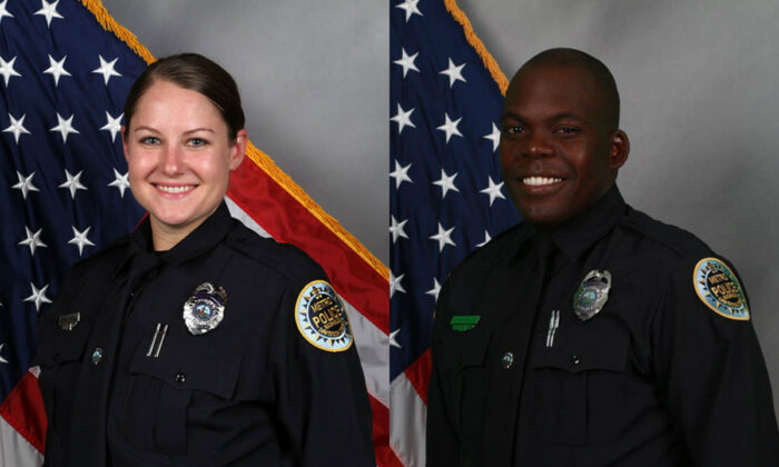 Nashville police officers Brenna Hosey, left, and James Wells were among a group of six officers who were credited with helping save lives before a Christmas Day explosion in Nashville, Tenn., on Dec. 25, 2020. (Nashville Police Department)