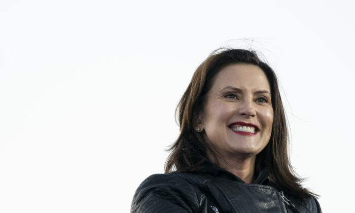 Gov. Gretchen Whitmer speaks during a drive-in campaign rally with Democratic presidential candidate Joe Biden in Detroit on Oct. 31, 2020. (Drew Angerer/Getty Images)