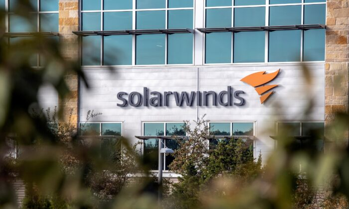 The SolarWinds logo outside its headquarters in Austin, Texas, on Dec. 18, 2020. (Sergio Flores/Reuters)