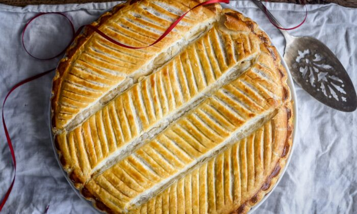 Galette des rois: two circles of buttery, flaky puff pastry filled with sweet, creamy frangipane. (Audrey Le Goff)