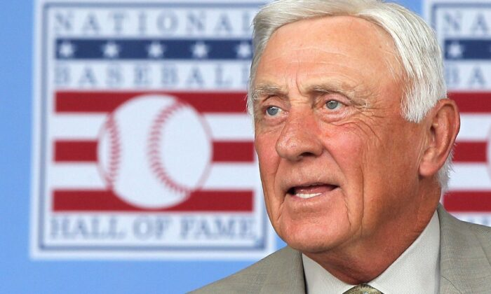Hall of Famer Phil Niekro is introduced at Clark Sports Center during the Baseball Hall of Fame induction ceremony in Cooperstown, N.Y., on July 24, 2011. (Jim McIsaac/Getty Images)