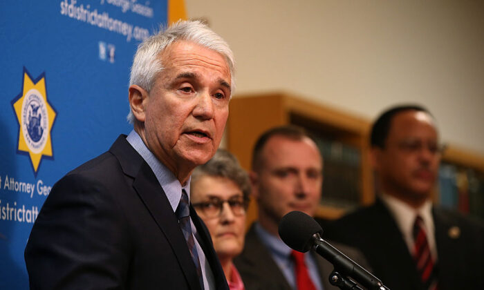 George Gascón, then-San Francisco district attorney who took office as Los Angeles County district attorney on Dec. 7, 2020, speaks during a new conference in San Francisco on Dec. 9, 2014. (Justin Sullivan/Getty Images)