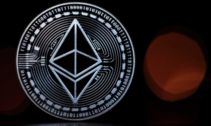An ethereum cryptocurrency 'altcoin' sits arranged for a photograph in London, England, on April 25, 2018. (Jack Taylor/Getty Images)