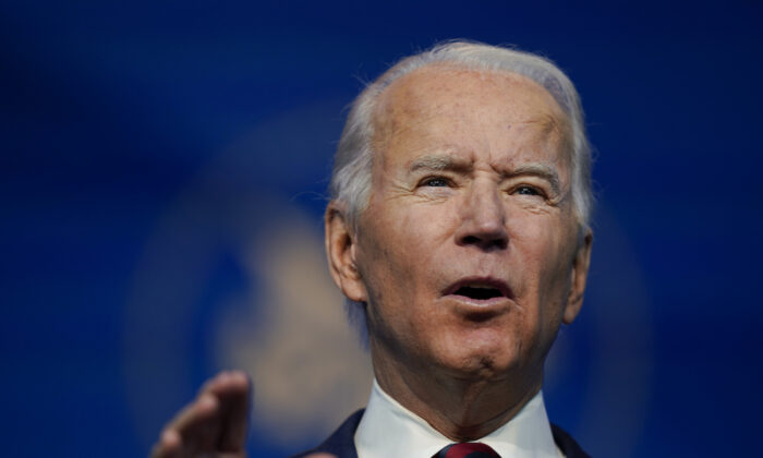 Democrat presidential candidate Joe Biden speaks at The Queen Theater in Wilmington, Del., on Dec. 19, 2020. (Carolyn Kaster/AP Photo)