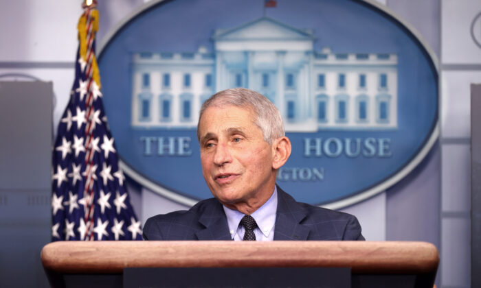 Dr. Anthony Fauci, director of the National Institute of Allergy and Infectious Diseases, speaks during a White House Coronavirus Task Force press briefing in the James Brady Press Briefing Room at the White House in Washington on Nov. 19, 2020. (Tasos Katopodis/Getty Images)