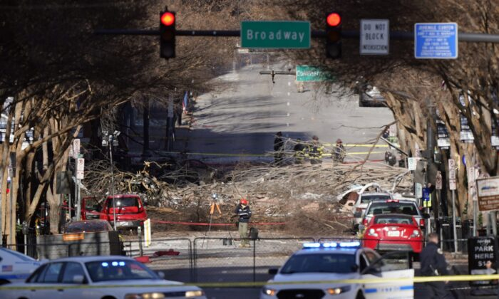 Investigators continue to examine the site of an explosion in Nashville, Tenn., on Dec. 27, 2020. (Mark Humphrey/AP Photo)