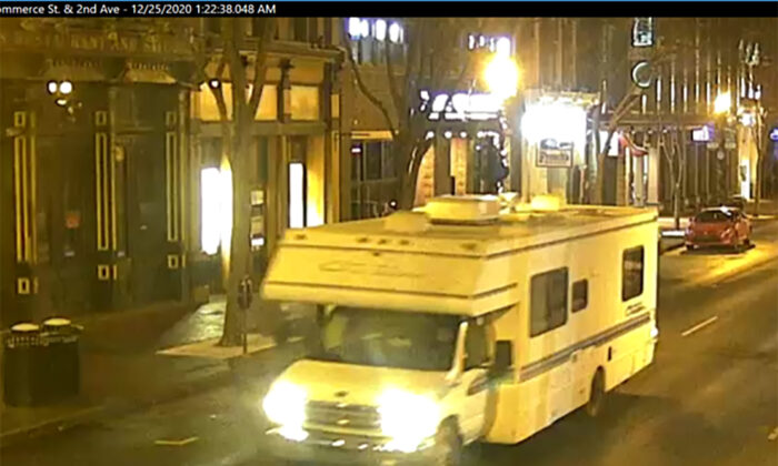 A screengrab of surveillance footage shows the recreational vehicle suspected of being used in the bombing in Nashville, Tenn., on Dec. 25, 2020. (Metro Nashville Police Department via Getty Images)