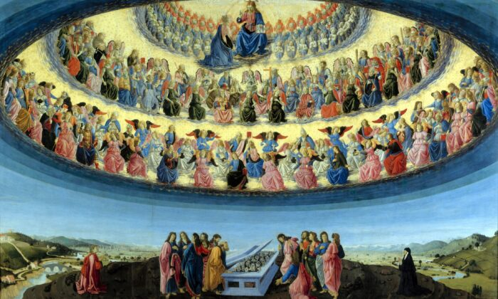 """""""The Assumption of the Virgin,"""" circa 1475–1476 by Francesco Botticini. Tempera on wood; 90 inches by 148.5 inches. National Gallery of Art, London. (PD-US)"""