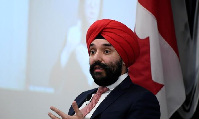 Minister of Innovation, Science and Industry Navdeep Bains at a press conference in Ottawa on Dec. 10, 2020. (The Canadian Press/Justin Tang)