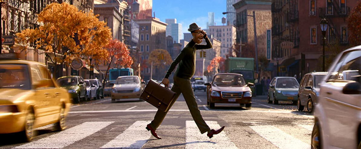 """man crossing street in """"Soul"""""""