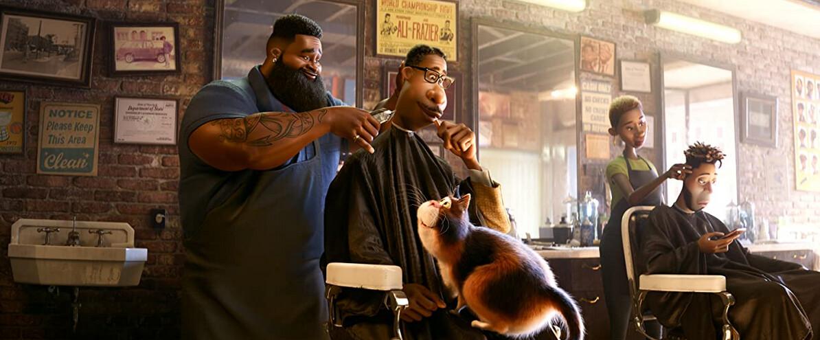 "barber cuts man's hair in ""Soul"""