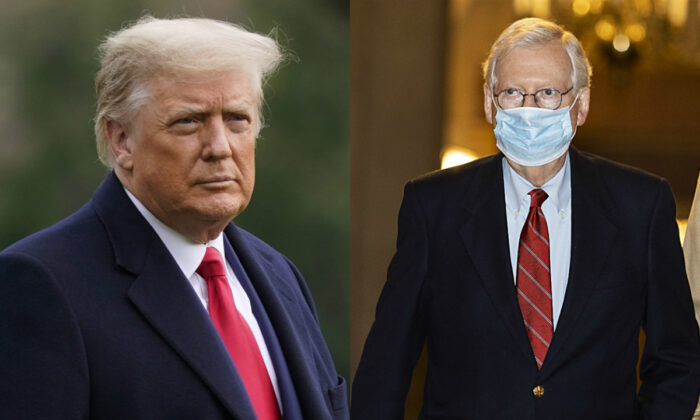 President Donald Trump, left, in a file photograph, and Senate Majority Leader Mitch McConnell (R-Ky.) in Washington on Dec. 29, 2020. (AP Photo; Getty Images)